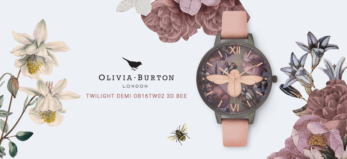 Olivia Burton Twilight Demi OB16TW02 3D Bee Mother Of Pearl Dial Lilac Leather Strap