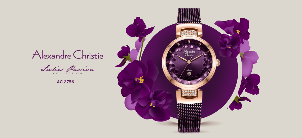 Alexandre Christie AC 2756 LD BRDRE Ladies Purple Mother of Pearl Dial Purple Stainless Steel
