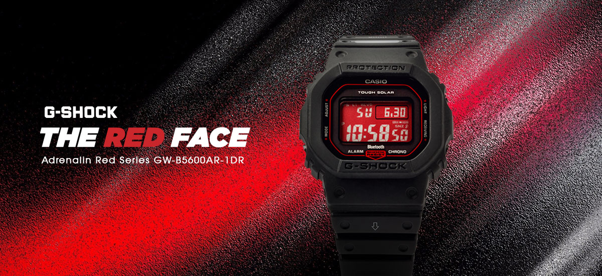 Casio G-Shock GW-B5600AR-1DR Special Color Red Digital Dial Black Resin Strap