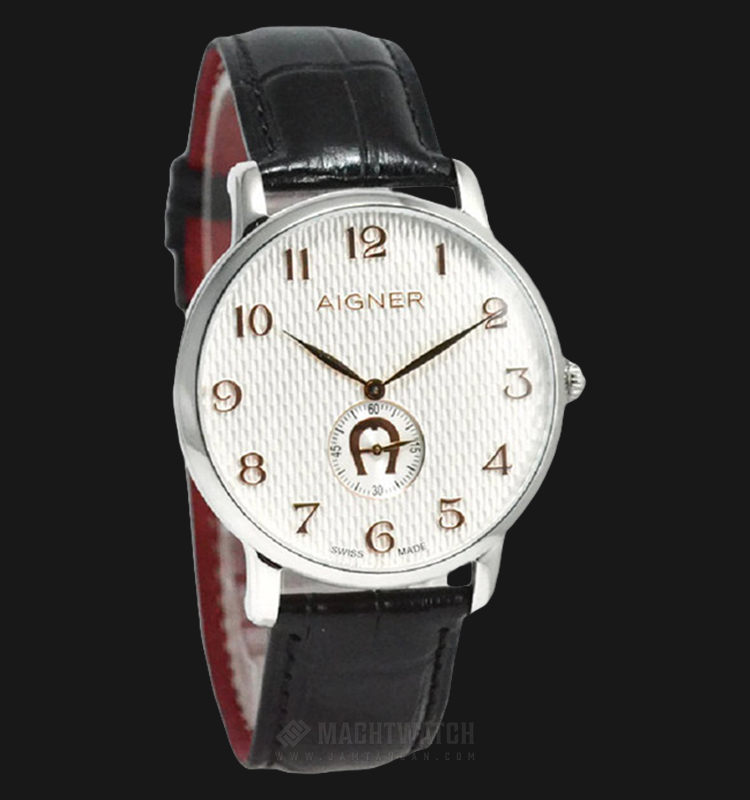 Aigner Viarregio A04110A Men White Pattern Dial Black Leather Strap Machtwatch