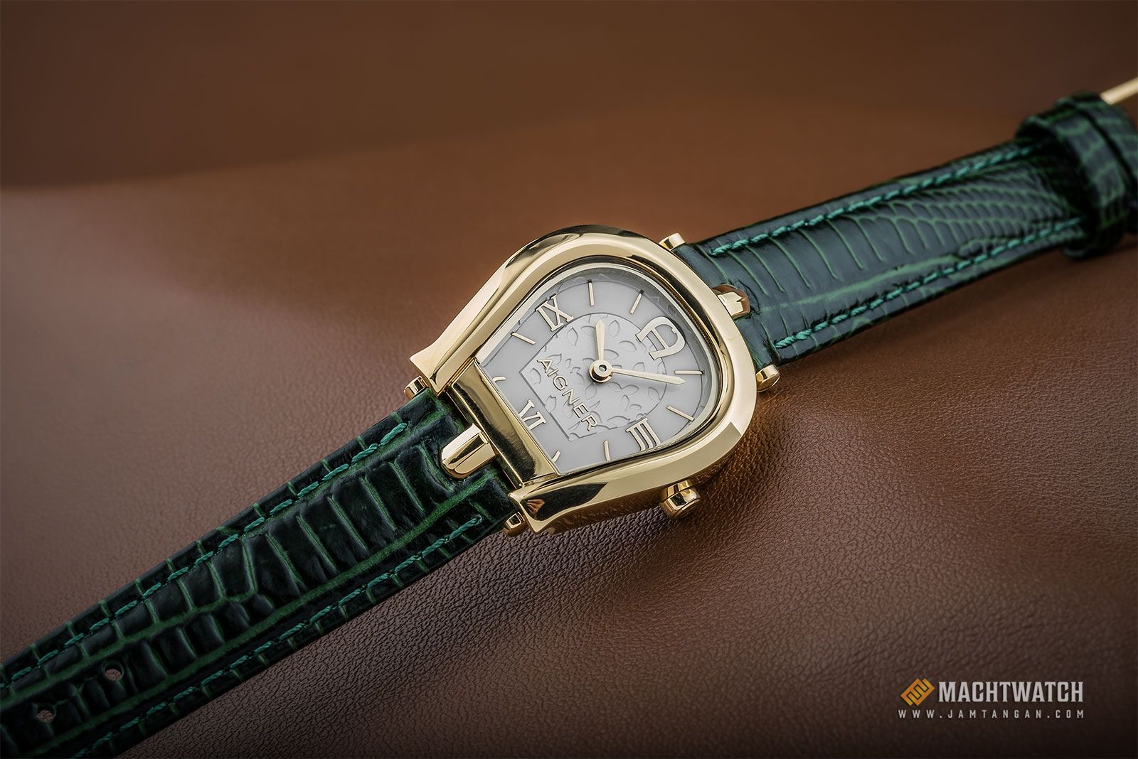 Aigner A07305 Ladies Silver Dial Green Leather Strap Machtwatch