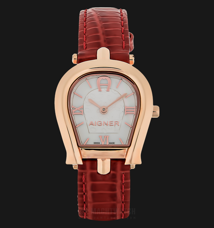 Aigner A07306A Ladies Silver Dial Red Leather Strap Machtwatch