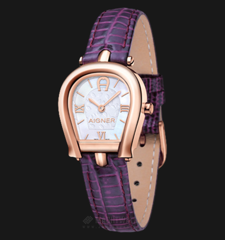 Aigner Perugina A07307 Ladies White Mother of Pearl Dial Purple Leather Strap Machtwatch