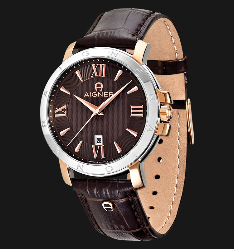 Aigner Triento A09010 Brown Texture Dial Brown Genuine Leather Strap Machtwatch