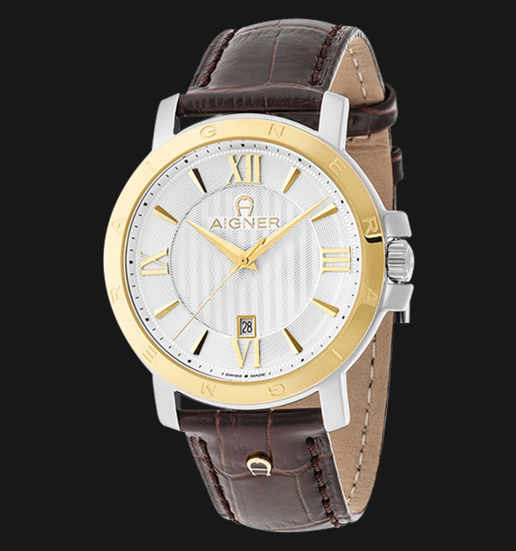 Aigner Triento A09011 Silver Texture Dial Brown Genuine Leather Strap Machtwatch