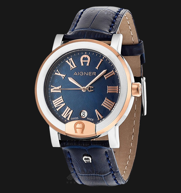 Aigner Treviglio A103106 Men Blue Dial Blue Leather Strap Machtwatch