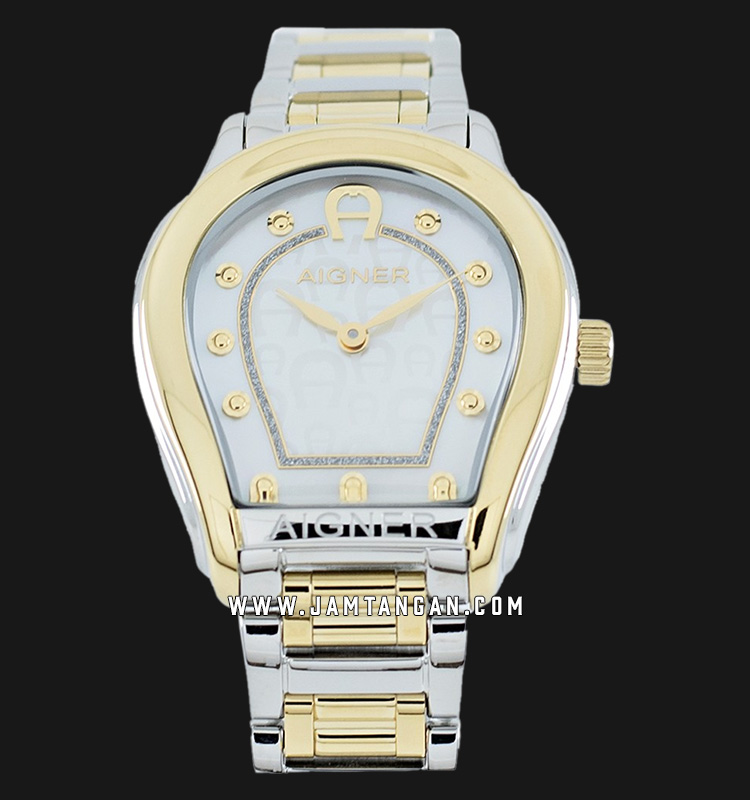 Aigner Vicenza A111212 Ladies Mother Of Pearl Dial Silver Gold Stainlees Steel Strap Machtwatch