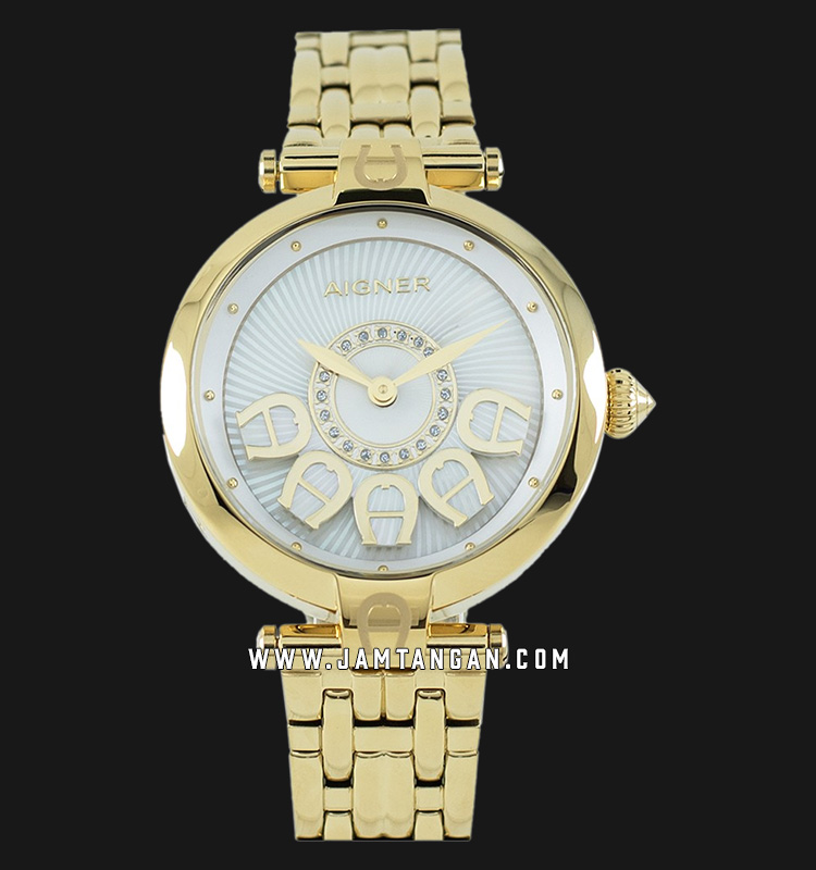 Aigner Florence A129204 Ladies Silver Dial Gold Plated Strap Machtwatch