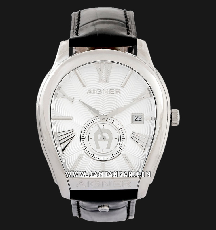Aigner Milano A131101 Men Silver Dial Black Leather Strap Machtwatch