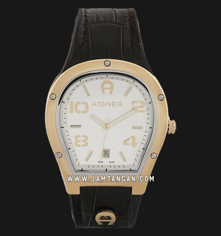 Aigner Roma A136103 Men Silver Dial Dark Brown Leather Strap Machtwatch