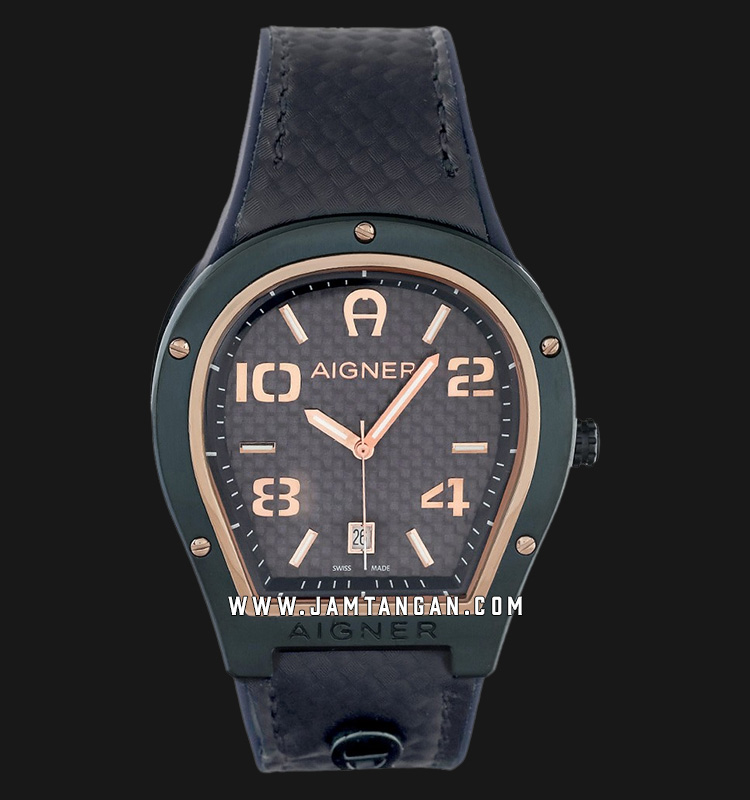 Aigner Roma A136105 Men Blue Navy Dial Black Blue Navy Leather Strap Machtwatch
