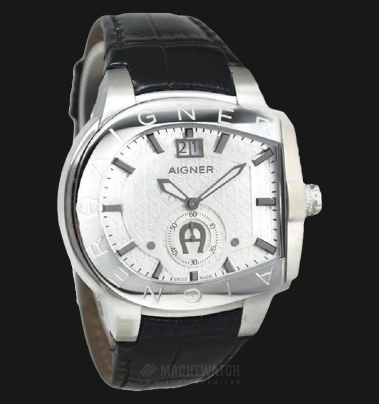 Aigner Grosseto A15115 Men White Dial Black Leather Strap Machtwatch