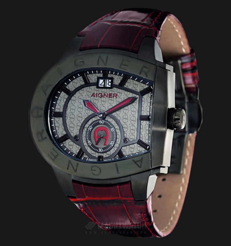 Aigner Grosseto A15119 Men Grey Dial Red Leather Strap Machtwatch