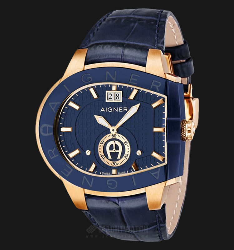 Aigner Grosseto A15120 Men Blue Dial Blue Leather Strap Machtwatch