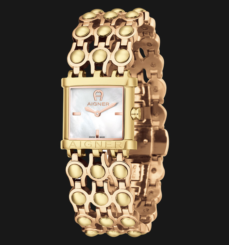 Aigner Arezzo A20211 Mother of Pearl Dial Gold Plated Stainless Steel Bracelet Machtwatch