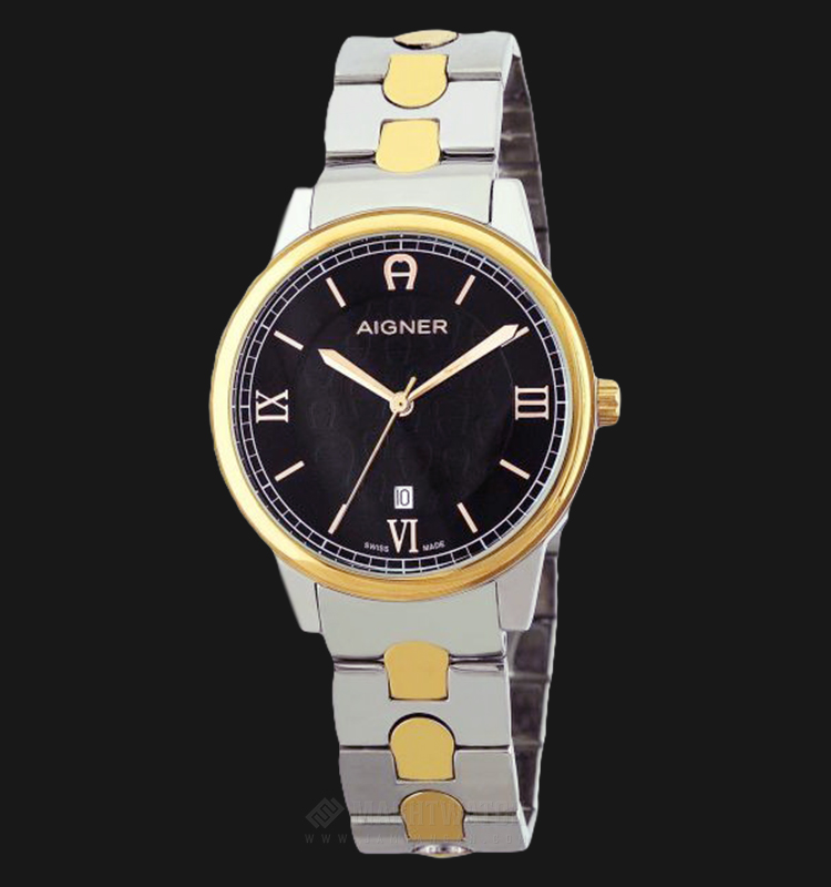 Aigner A24050A Men Black Dial Dual Tone Stainless Steel Strap Machtwatch