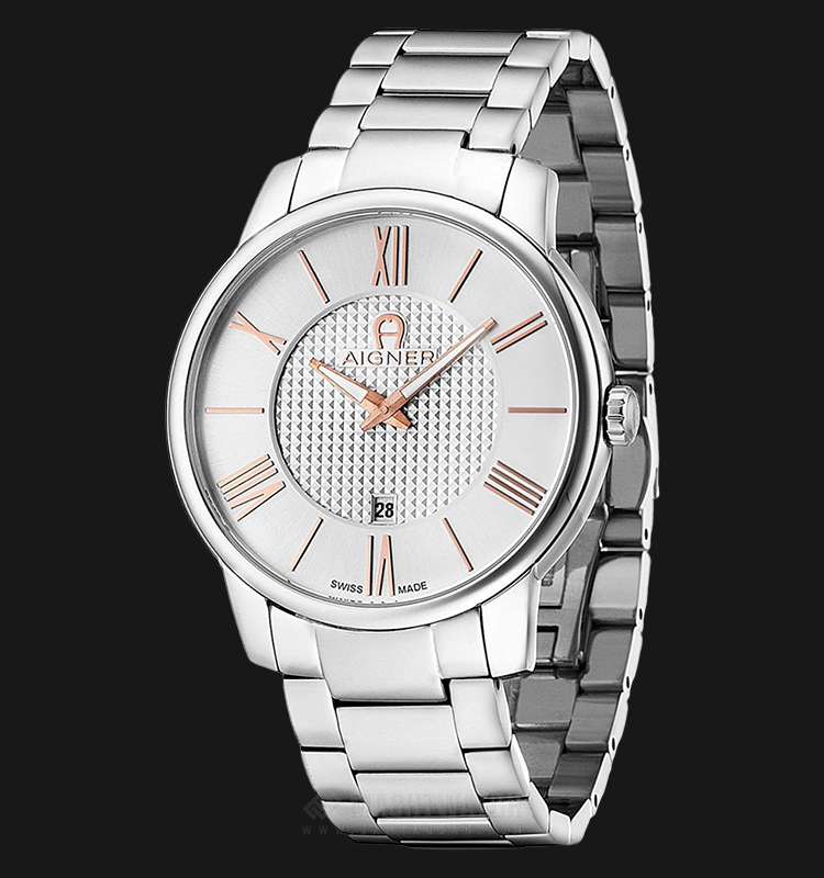 Aigner Padua A24054 Men Silver Pattern Dial Stainless Steel Strap Machtwatch