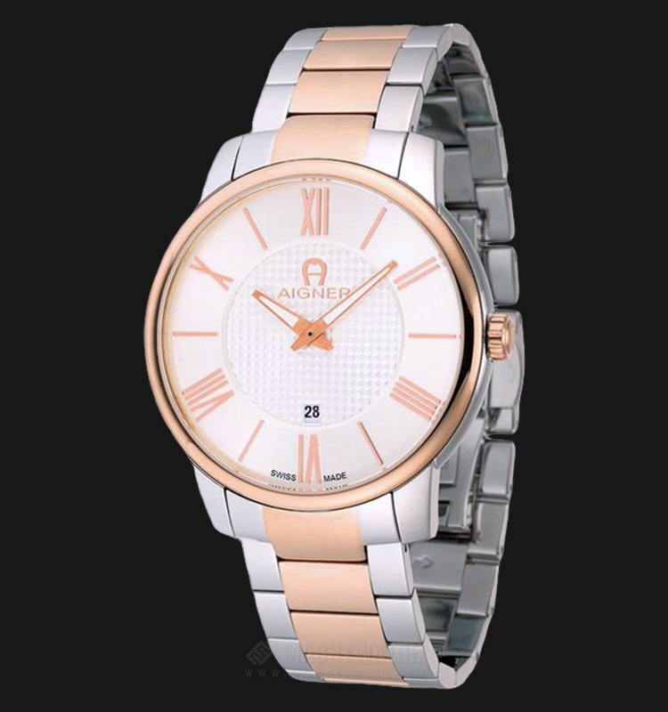 Aigner Padua A24056 Men Silver Pattern Dial Dual Tone Stainless Steel Strap Machtwatch