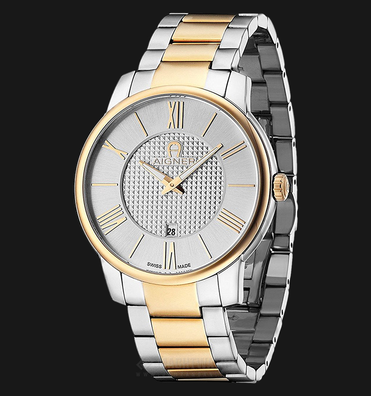 Aigner Padua A24057 Men Silver Pattern Dial Dual Tone Stainless Steel Strap Machtwatch