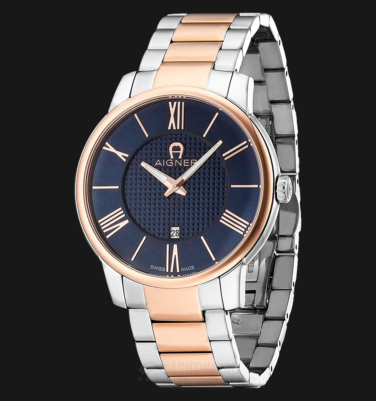 Aigner Padua A24058 Men Blue Pattern Dial Dual Tone Stainless Steel Strap Machtwatch