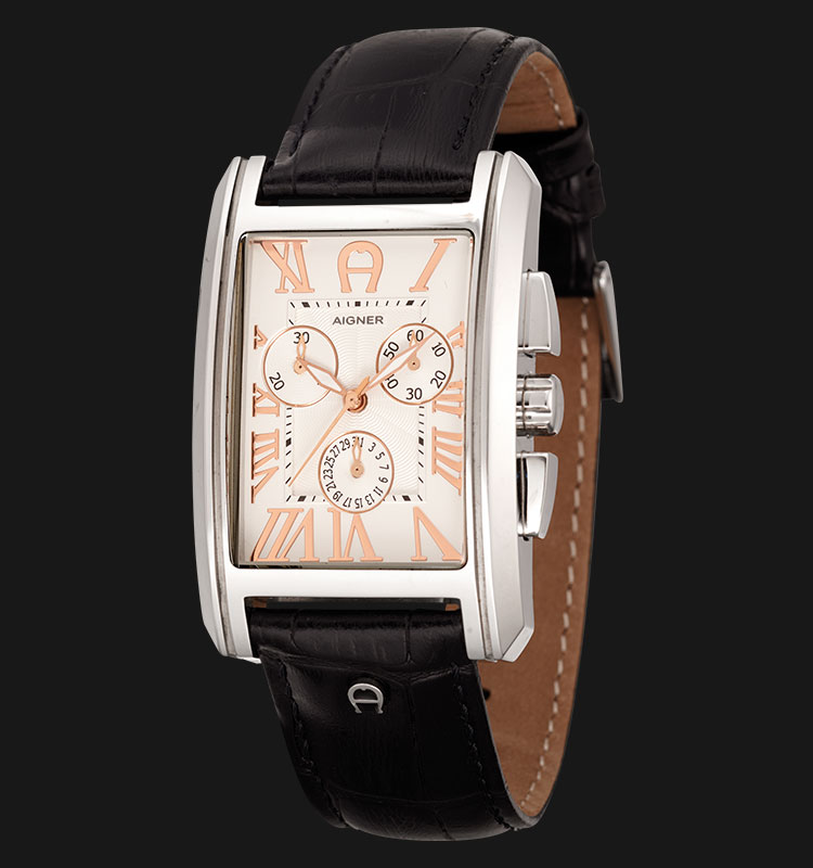 Aigner A24114E Black Leather Strap with White Dial Machtwatch
