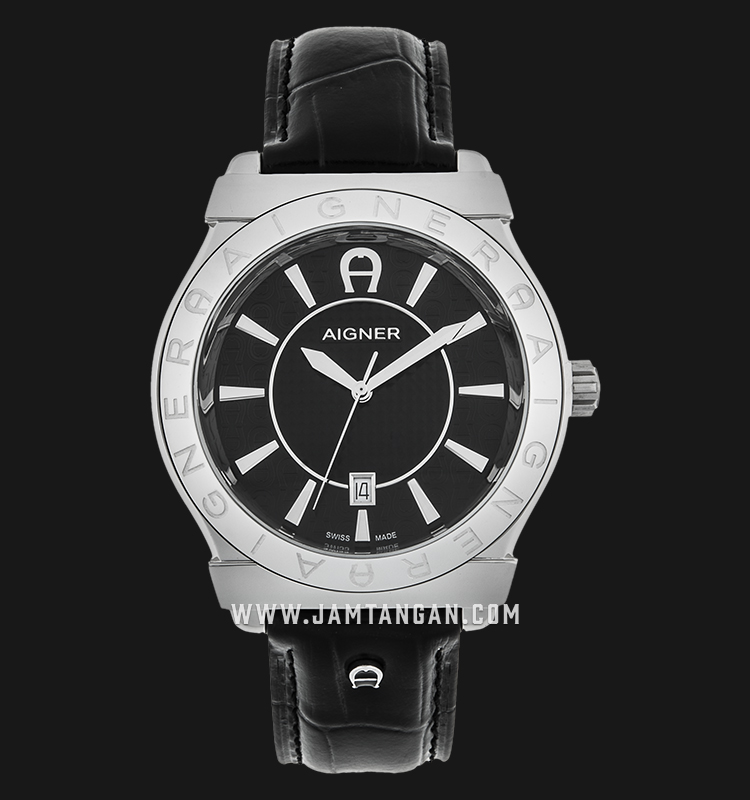 Aigner Bolzano A24115A Black Texture Dial Black Genuine Leather Strap Machtwatch