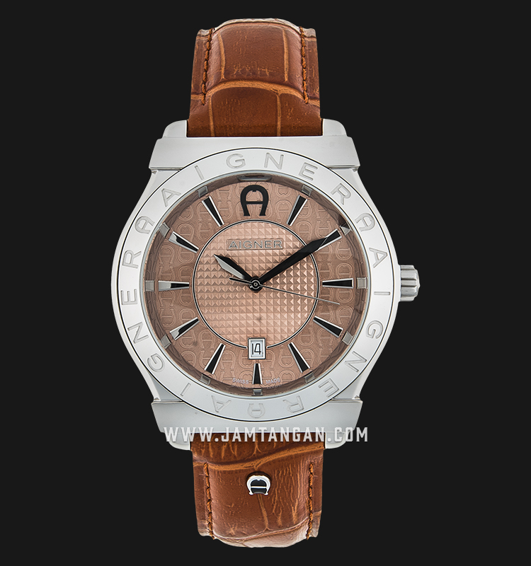 Aigner Bolzano A24116B Brown Texture Dial Brown Genuine Leather Strap Machtwatch