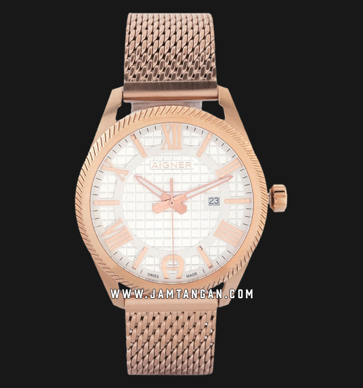 Aigner Imola A24145F Men White Dial Rose Gold Plated Stainless Steel Strap Machtwatch