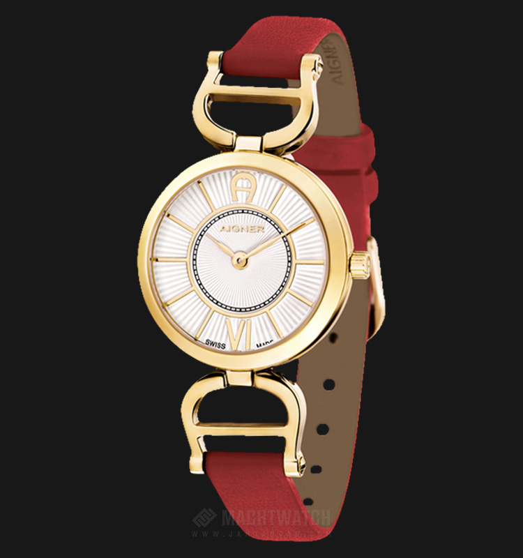 Aigner Chieti A24205A Ladies White Dial Gold Case Red Leather Strap Machtwatch