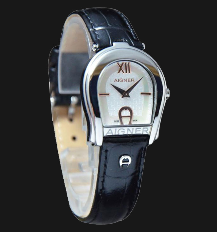 Aigner Andria A24223B Silver Mother of Pearl Dial Black Genuine Leather Strap Machtwatch