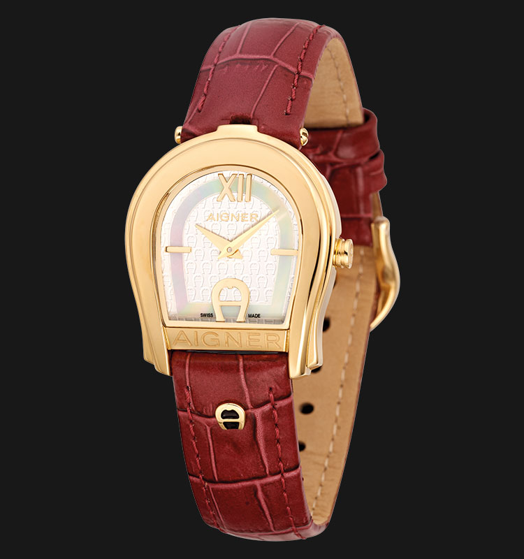 Aigner Varese A24224B Gold Plated Stainless Steel Red Genuine Leather Strap Machtwatch