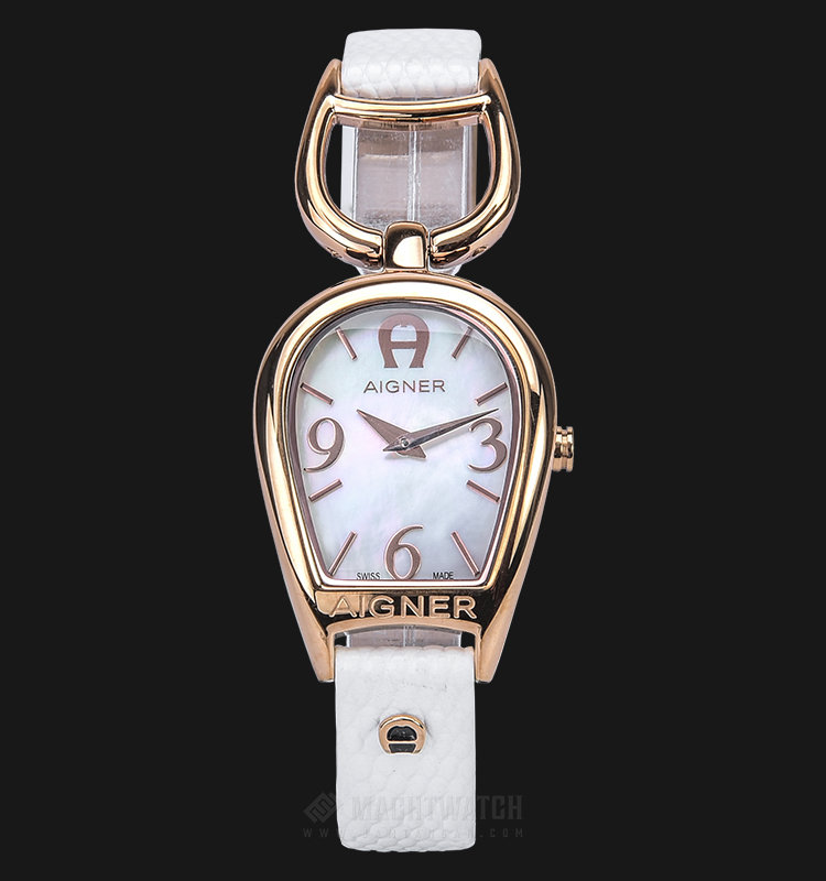 Aigner Arte II A24232A Ladies Mother of Pearl Dial White Leather Strap + Extra Strap Machtwatch