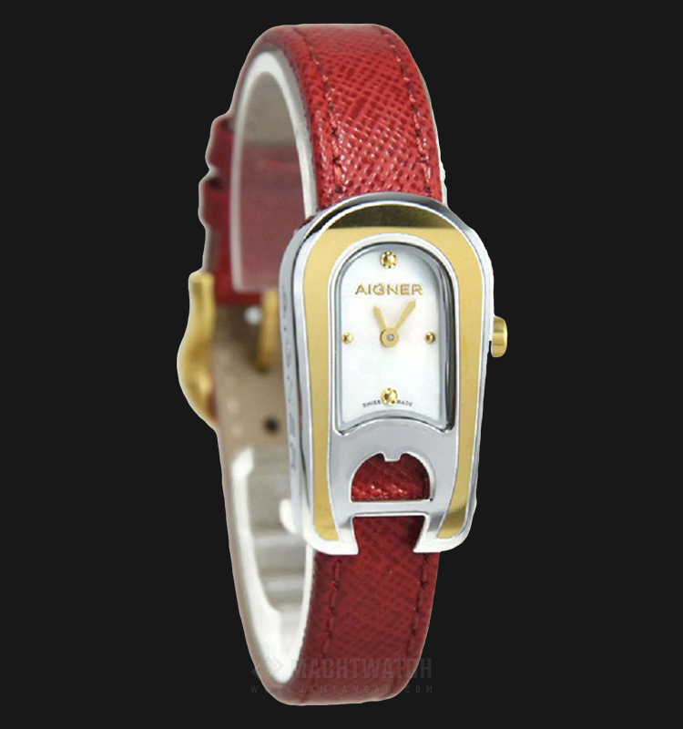 Aigner Aprilia A24271 Ladies White Dial Red Leather Strap Machtwatch