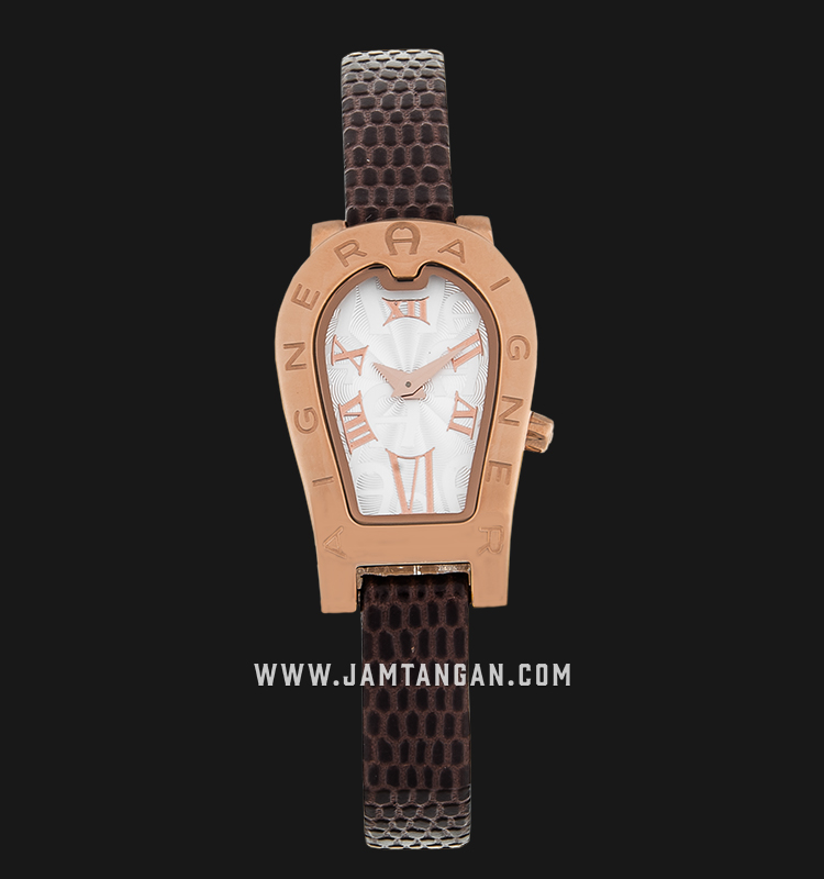 Aigner Olbia II A29240 Ladies Silver Dial Rose Gold Case Brown Leather Strap Machtwatch