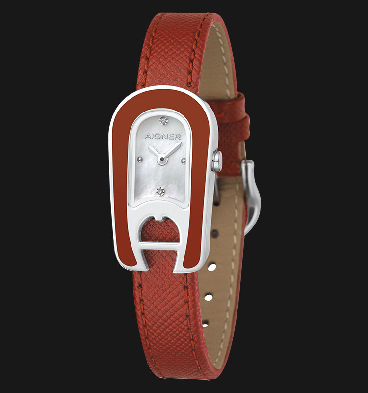 Aigner Aprillia A30211 Mother of Pearl Dial Red Genuine Leather Strap Machtwatch