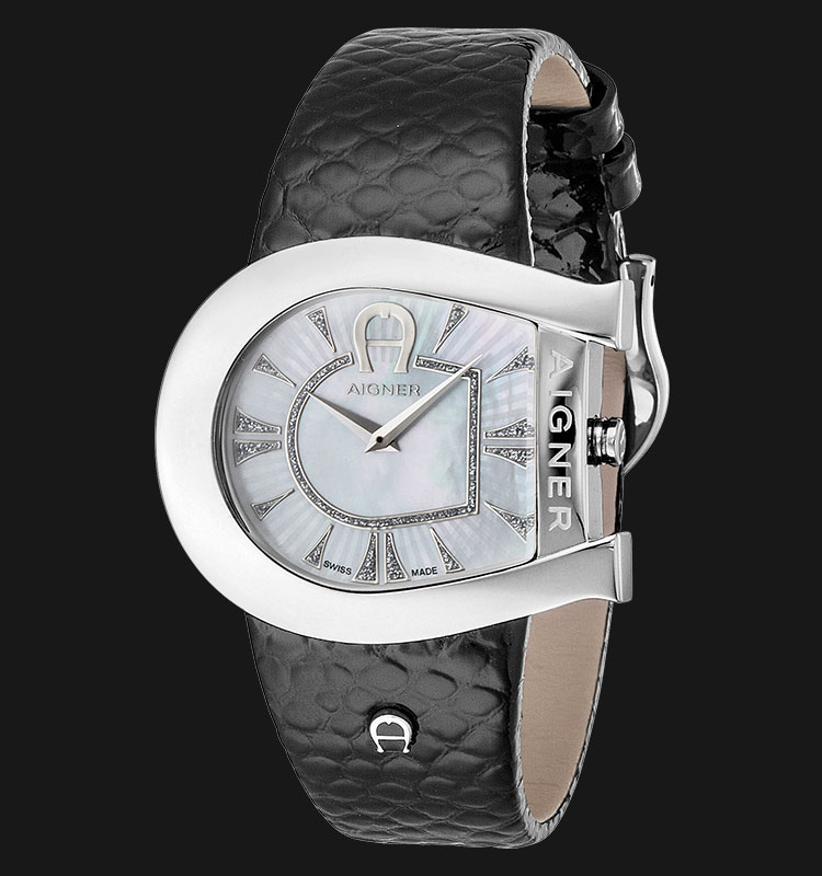 Aigner Genua A31301 Black Leather Strap White Dial Machtwatch