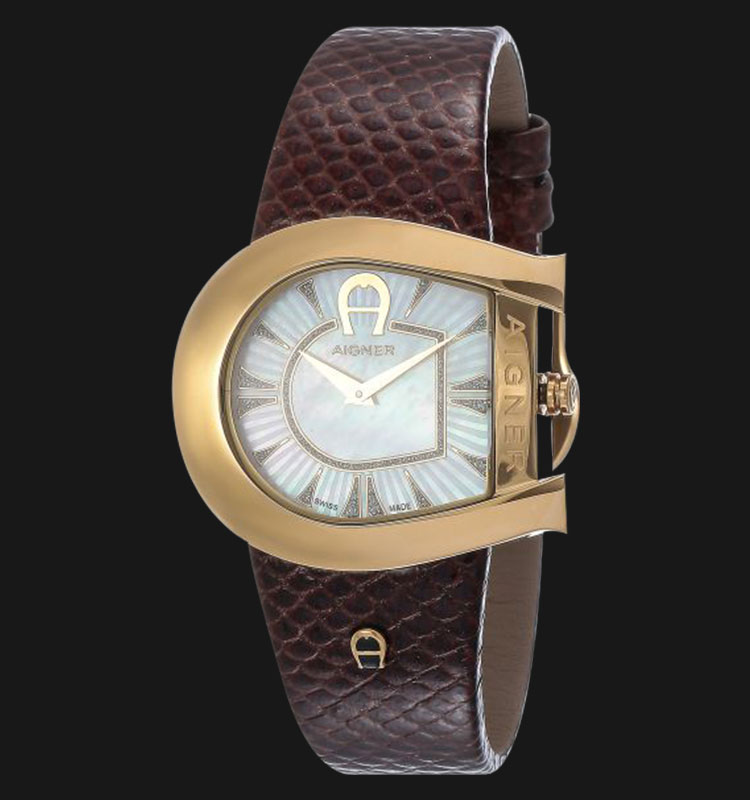 Aigner Genua A31304 Brown Leather Strap White Dial Machtwatch