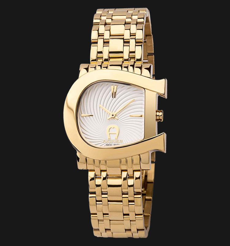 Aigner Genua Due A31681 White Dial Gold Plated Stainless Steel Bracelet Machtwatch