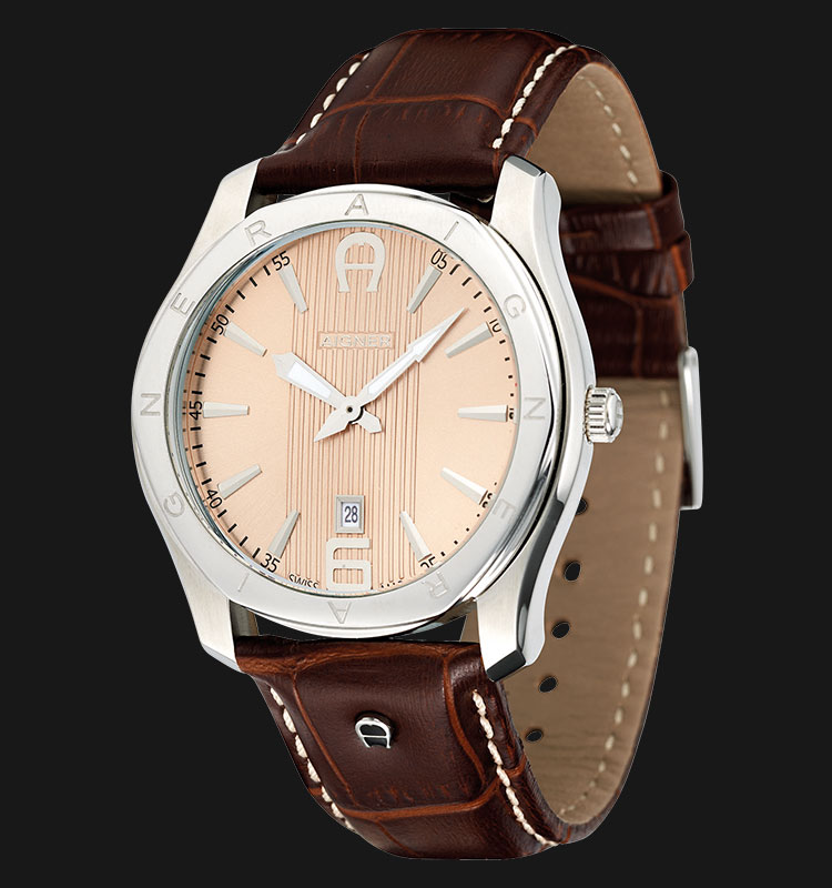 Aigner Lazio A32142A Brown Leather Strap Gold Dial Machtwatch