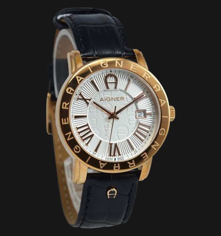 Aigner Linate A32170B Black Leather Strap Brown White Dial Machtwatch