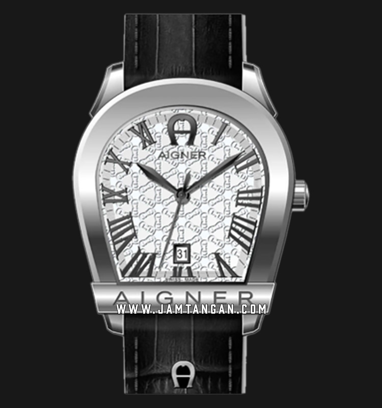 Aigner Verona A32191H Men White Pattern Dial Black Leather Strap Machtwatch