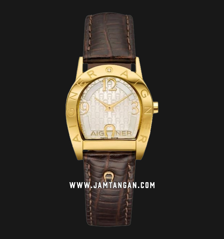 Aigner Asti Due A32278A Ladies White Pattern Dial Gold Case Black Leather Strap + Extra White Strap Machtwatch
