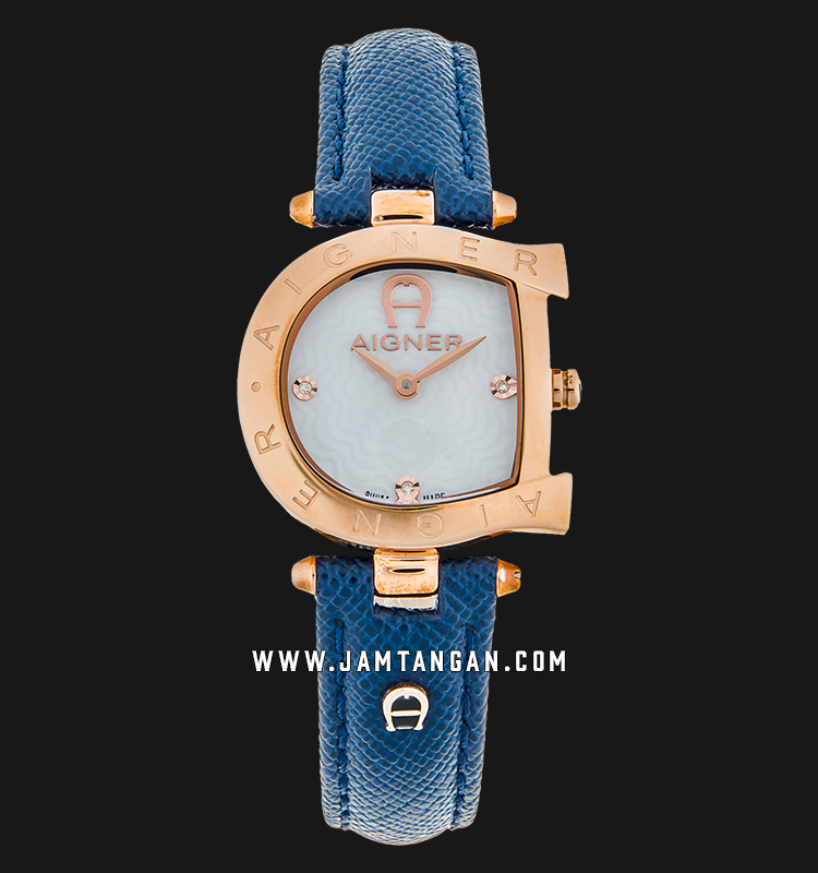 Aigner Arco A34218 Ladies White Pattern Dial Rose Gold Case Blue Leather Strap Machtwatch