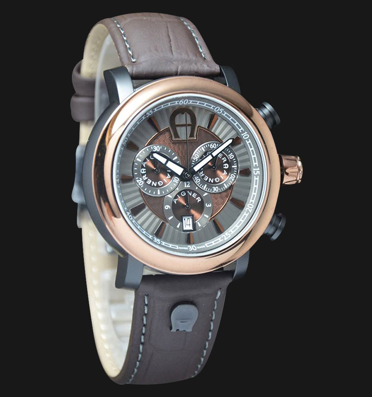 Aigner Bari Chrono A37520 Brown Leather Strap Brown Silver Dial Machtwatch