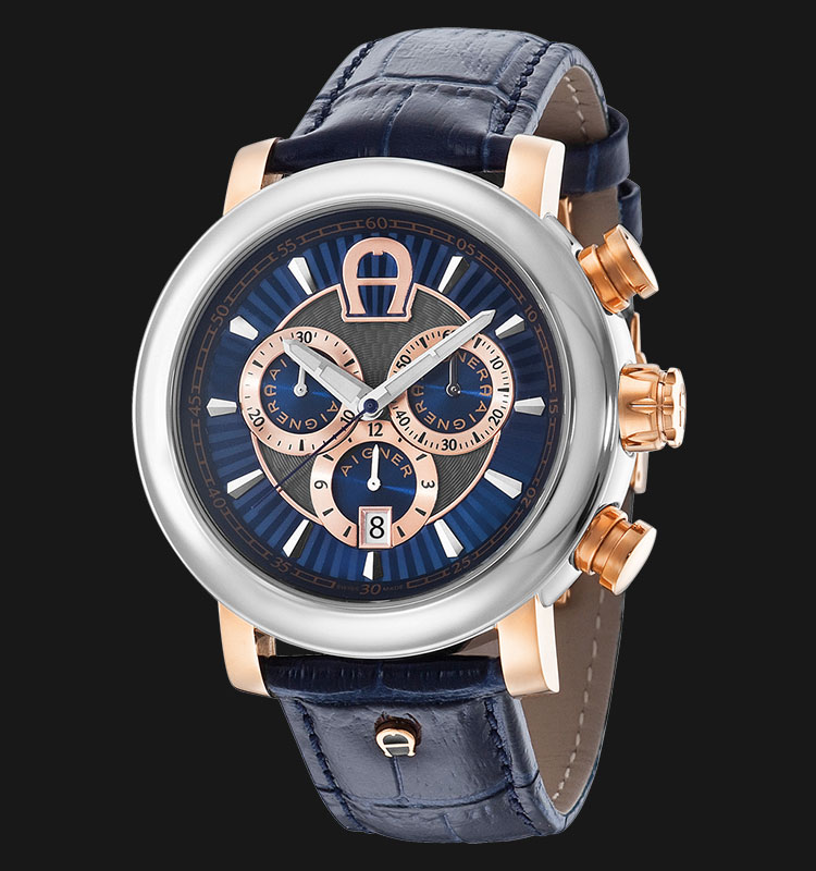 Aigner Bari Chrono A37522 BlueLeather Strap Blue Gold Dial Machtwatch