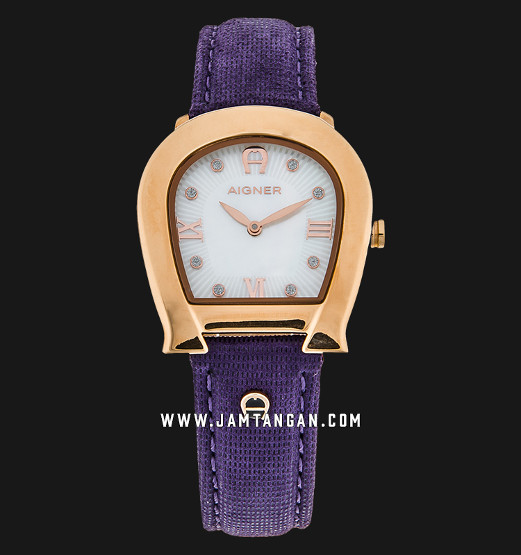 Aigner Messina A40241 Ladies Mother of Pearl Dial Rose Gold Case Purple Leather Strap Machtwatch
