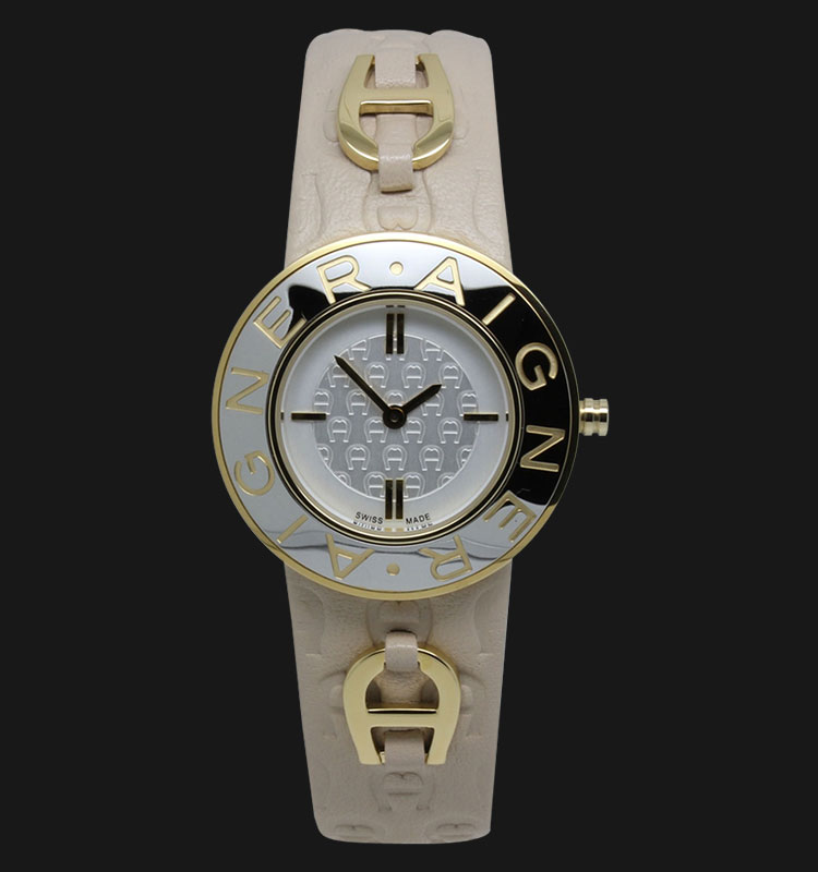 Aigner Aversa A51201D Silver Texture Dial Beige Genuine Leather Strap Machtwatch