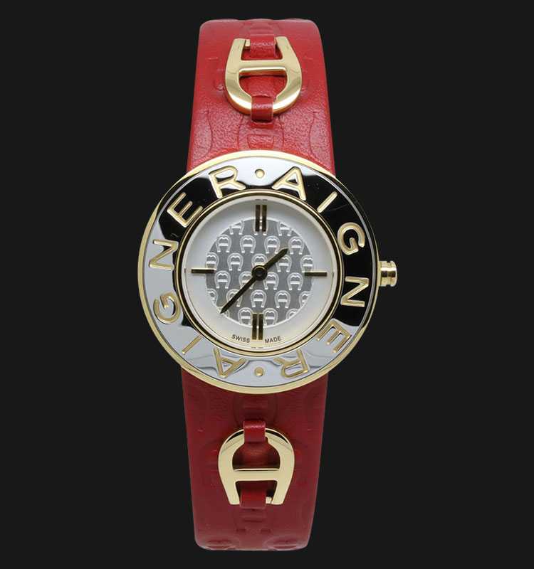 Aigner Aversa A51201F Silver Texture Dial Red Genuine Leather Strap Machtwatch