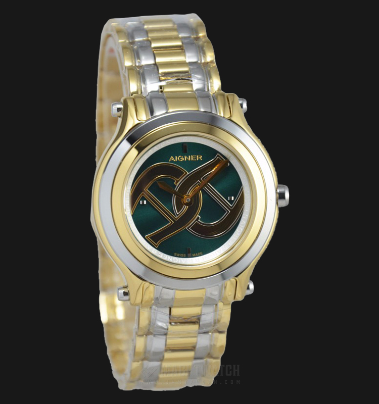 Aigner Bologna A55215 Ladies Green Dial Dual Tone Stainless Steel Strap Machtwatch