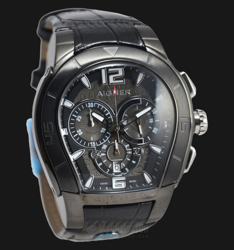 Aigner Palermo A58513 Chronograph Men Grey Dial Black Leather Strap Machtwatch